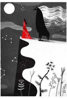Philip Giordano beautiful grimm fairytale style illustration wolf and i baying at the moon