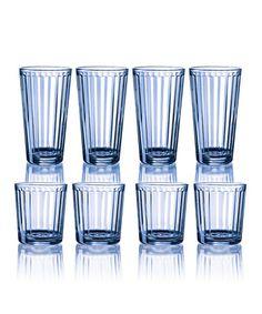 This Blue Column 16-Piece Glass Set is perfect! #zulilyfinds
