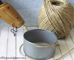 Wrap a can in Hemp Cord for to make a simple candle holder.  {ribbonsandglue.com}