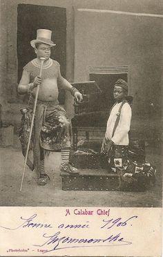 "Vintage postcard, circa 1900. ""A Calabar Chief"", Nigeria. Publisher and photographer ""Photoholm"""