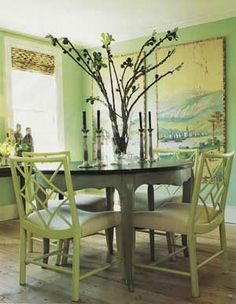 Painted Dining Furniture | This is so lovely. I love the Chinoiserie styling of the chairs mixed ...