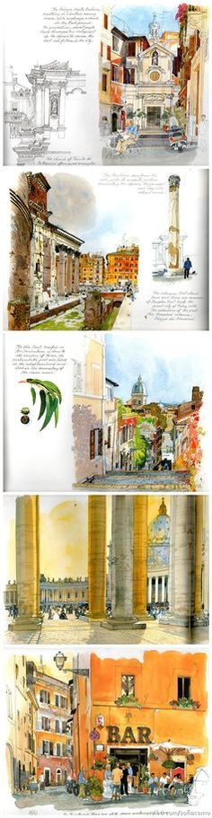Ideas Travel Journal Illustration Urban Sketchers For 2019 Voyage Sketchbook, Travel Sketchbook, Arte Sketchbook, Urban Sketchers, Fabrice Moireau, Watercolor Journal, Watercolor Artists, Watercolour, Watercolor Landscape