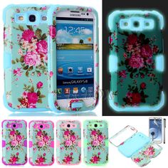 Flower Hybrid Noctilucent Silicone Hard Soft Case Cover for Samsung Galaxy S3 Fun Shopping, Hybrid Design, Samsung Galaxy S3, Nintendo Consoles, Galaxies, Cover, Phone Cases, Phone Case