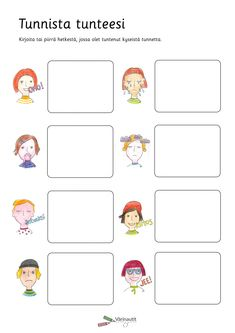 Tunnetaidot - Värinautit Early Childhood Education, 3 In One, Little Ones, Teaching, Activities, Feelings, Comics, School, Kids