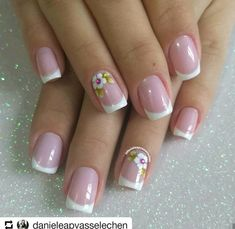 Perfect Colorful Floral Nail Design – 20 It's your turn to have great nails! Check out this year's most … Rose Nail Art, Rose Nails, Flower Nails, French Nail Art, French Tip Nails, Pretty Nails, Fun Nails, Latest Nail Art, Polka Dot Nails