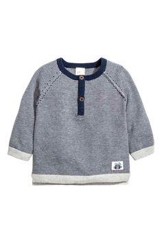 Топ тонкой вязки из хлопка - Темно-синий/Белая полоска - Дети | H&M RU 1