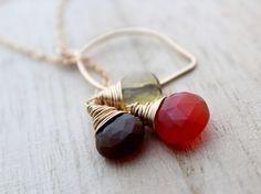 Autumn Gemstone Necklace - Opal Carnelian & Quartz Gold Lariat, Fall Fashion, October Birthstone - Beech