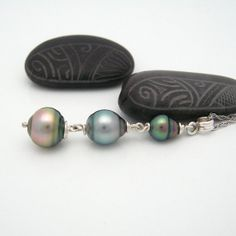 Tahitian Black Pearl Pastel Trio Silver Pendant by MooreaDesign, $120.00