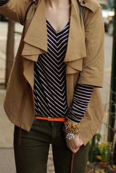 love the stripes...LOVE the jacket!