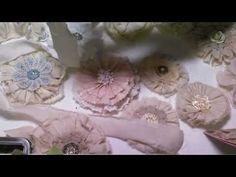 vintage fabric flowers, tatter flower, card, flower tutorial