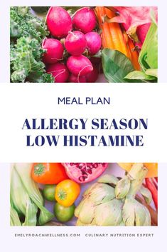 Suffering from seasonal allergies? Read this to create an allergy season meal plan focused on low histamine foods. Developed by a culinary nutrition expert. Jewish Recipes, Real Food Recipes, Healthy Recipes, Seasonal Allergies, Food Allergies, Seasonal Allergy Symptoms, Low Histamine Foods, Clean Eating Plans, Diet Meal Plans