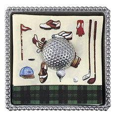 Mariposa Golf Ball Beaded Napkin Box