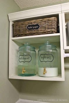Put fabric softener and laundry detergent in beverage dispensers work cute labels farmhouse decor 29 Incredibly Clever Laundry Room Organization Ideas Laundry Room Remodel, Laundry Closet, Laundry Room Organization, Laundry Room Design, Organization Ideas, Storage Ideas, Storage Shelves, Small Shelves, Laundry Detergent Storage