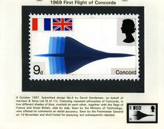 QEII 1969 Concorde stamp: Submitted design by David Gentleman (Harrison and Sons Ltd), 9 October Uk Stamps, Postage Stamps, David Gentleman, Environmental Posters, France Flag, Commemorative Stamps, Ticket Design, 9th October, Glasgow School Of Art
