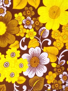 70s retro mod vintage fabric in yellow and orange. Made in Sweden, lovely floral pattern.