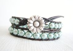 """Aqua Leather Wrap Bracelet -Elegant aqua glass beads double wrap leather wraps 2x around your wrist (14"""" of beads, the overall length is 15""""). Daisy button closure with loop."""