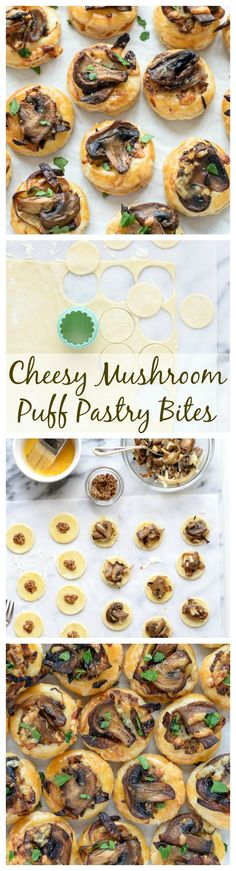 Cheesy Mushroom Puff Pastry Bites. An easy make ahead holiday appetizer!