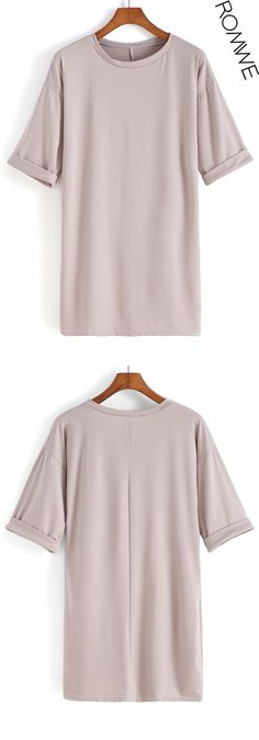 Apricot Round Neck Loose Dress. Simple tshirt dress with half sleeve. I just love apricot, it bright skin well. Take one shift dress for street with flats. Just fantastic!