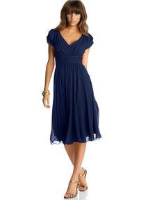 Suzi Chin Dress, Chiffon Empire Waist - Womens Dresses - Macy& (Possibility for my brother& wedding next month. Silk Chiffon, Silk Dress, Dress Up, Chiffon Dress, Occasion Dresses, Day Dresses, Vestidos Vintage, Blue Bridesmaid Dresses, Bridesmaids