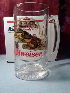"1996 Budweiser Bull Frogs 20 oz. 7"" Tall,  Huge, Heavy Mug w/Handle Ex Cond."