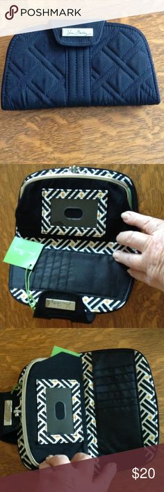 NWT Vera Bradley kiss lock wallet. Quilted black Vera Bradley three compartment wallet in pristine new condition. Bags