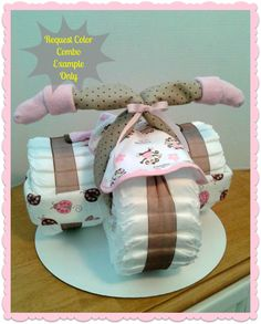 Diaper Cake - Diaper Tricycle - Baby Shower Gift - Baby Shower Centerpiece - GIRL. $60.00, via Etsy.