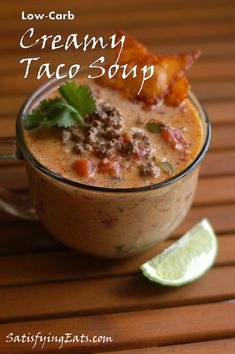 LOW-CARB CREAMY TACO SOUP This is one of my favorite recipes! It's perfect for parties (the recipe makes 20 cups), perfect for gifting to. Low Carb Taco Soup, Low Carb Tacos, Keto Soup, Keto Taco, Slow Cooker Recipes, Low Carb Recipes, Crockpot Recipes, Cooking Recipes, Healthy Recipes