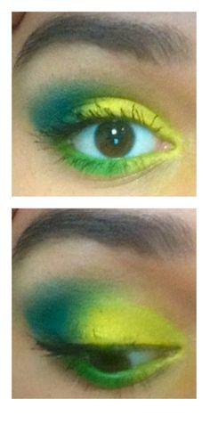 This reminds me of the #fifaworldcup add...  #eyemakep #eyeshadow #green #blue #yellow #browneyes #mascara #brow #pretty #makeup #beautyaddict #fifa2k14 #fifa #2k14 #brasil