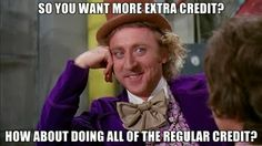 This is how I feel when students ask for extra credit...