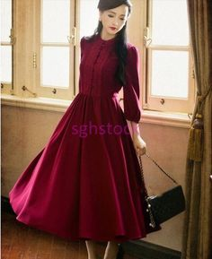 Vintage Lolita Women Round Collar Princess Dress Chinese Long Dress Costume Size