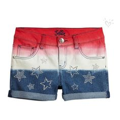 Red, White Blue Dye Effect Denim Shorts- MOOS Justice ❤ liked on Polyvore featuring shorts, red shorts, denim shorts, red jean shorts, jean shorts and denim short shorts