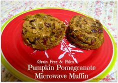 Grain free & Paleo Pumpkin Pomegranate Microwave Muffin  Quick and healthy breakfast idea!