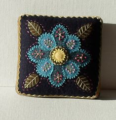 Handmade Needle Cushion Felted Wool Blue by QuiltShenanigans