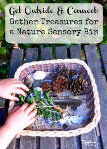 Get Outside & Connect: Gather Treasures for a Nature Sensory Bin Nature Activities, Sensory Activities, Infant Activities, Activities For Kids, Outdoor Activities, Sensory Play Recipes, Heuristic Play, Treasure Basket, Scavenger Hunt For Kids