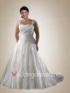 Trendy Square Neckline Beaded Wedding Dress with Applique