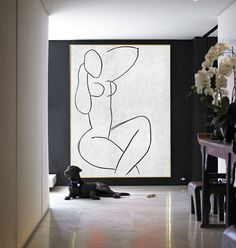 Nude_Black And White Contemporary Art Large Canvas Painting, Acrylic Painting Minimalist Art.