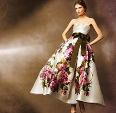 Ivory painted floral prom dress