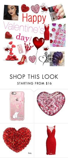 """❤ Happy Valentine's day! ❤"" by eliskiku ❤ liked on Polyvore featuring Casetify, Waterford, ML Monique Lhuillier and Charlotte Olympia"