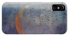 Moon IPhone X Case featuring the photograph The Golden Moon And The Birds by Priska Wettstein