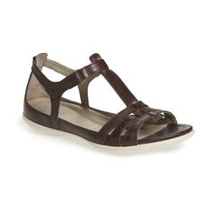 Women's Ecco 'Flash' Sandal ($120) ❤ liked on Polyvore featuring shoes, sandals, coffee leather, slim shoes, leather strap shoes, leather sandals, genuine leather shoes and ecco footwear