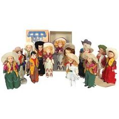 Cowboy & cowgirl dolls (25+), Marcie cowgirl in box, many in leather costumes, very few repeats, all