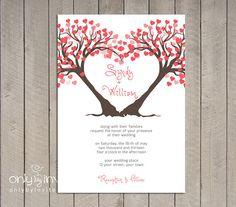 Modern Twin Heart Trees Wedding Invitation Printable DIY Summer Spring Wedding on Etsy, $20.00