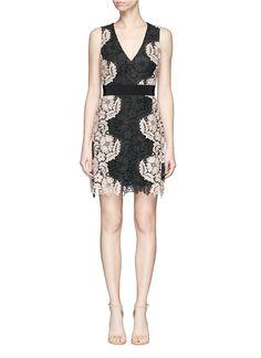 ALICE AND OLIVIA 'Patrice' contrast floral guipure lace dress. #aliceandolivia #cloth #dress