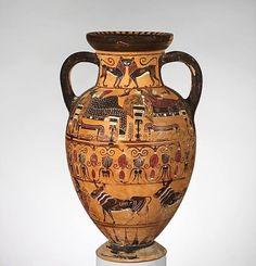 """Ceramica etrusca a figure nere Anfora attribuita al """"Pittore di Paride"""" 540 a.C. New York, Metropolitan Museum of Art."""