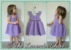 Vintage Toddler Rounded Yoke Dress - Free Crochet Pattern - The Lavender Chair All Free Crochet, Crochet Girls, Crochet Baby Clothes, Crochet For Kids, Single Crochet, Thread Crochet, Knit Crochet, Crochet Cardigan, Toddler Dress