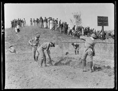 Tsinghua Scouts Digging Garden. From Duke Digital Collections. Collection: Sidney D. Gamble Photographs