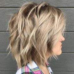 50 Latest Shag Haircut Variations Trendy in 2020 - Hair Adviser - Blonde Shoulder-Length Bob Shag - Shaggy Layered Haircut, Curly Shag Haircut, Modern Shag Haircut, Layered Haircuts, Hair Shag, Medium Shag Hairstyles, Short Shag Hairstyles, Thin Hair Haircuts, Braided Hairstyles