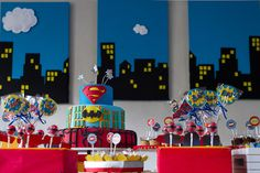 Awesome superhero dessert table! #superhero #desserttable
