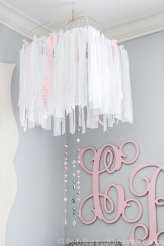 Expecting a little girl? Click over to learn how to DIY a nursery mobile with ribbon and lace, beautiful and elegant | Unskinny Boppy