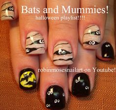 Mummys and Bats! Nail Ideas for Halloween! on youtube!